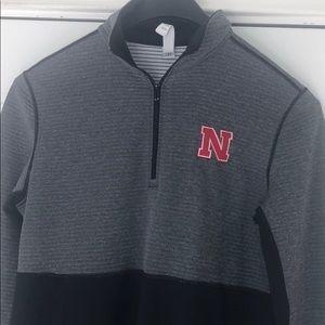 Nebraska Adidas 1/4 zip gray and black long sleeve